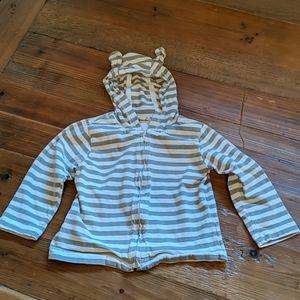 Grey Striped Baby GAP Cotton Hoodie